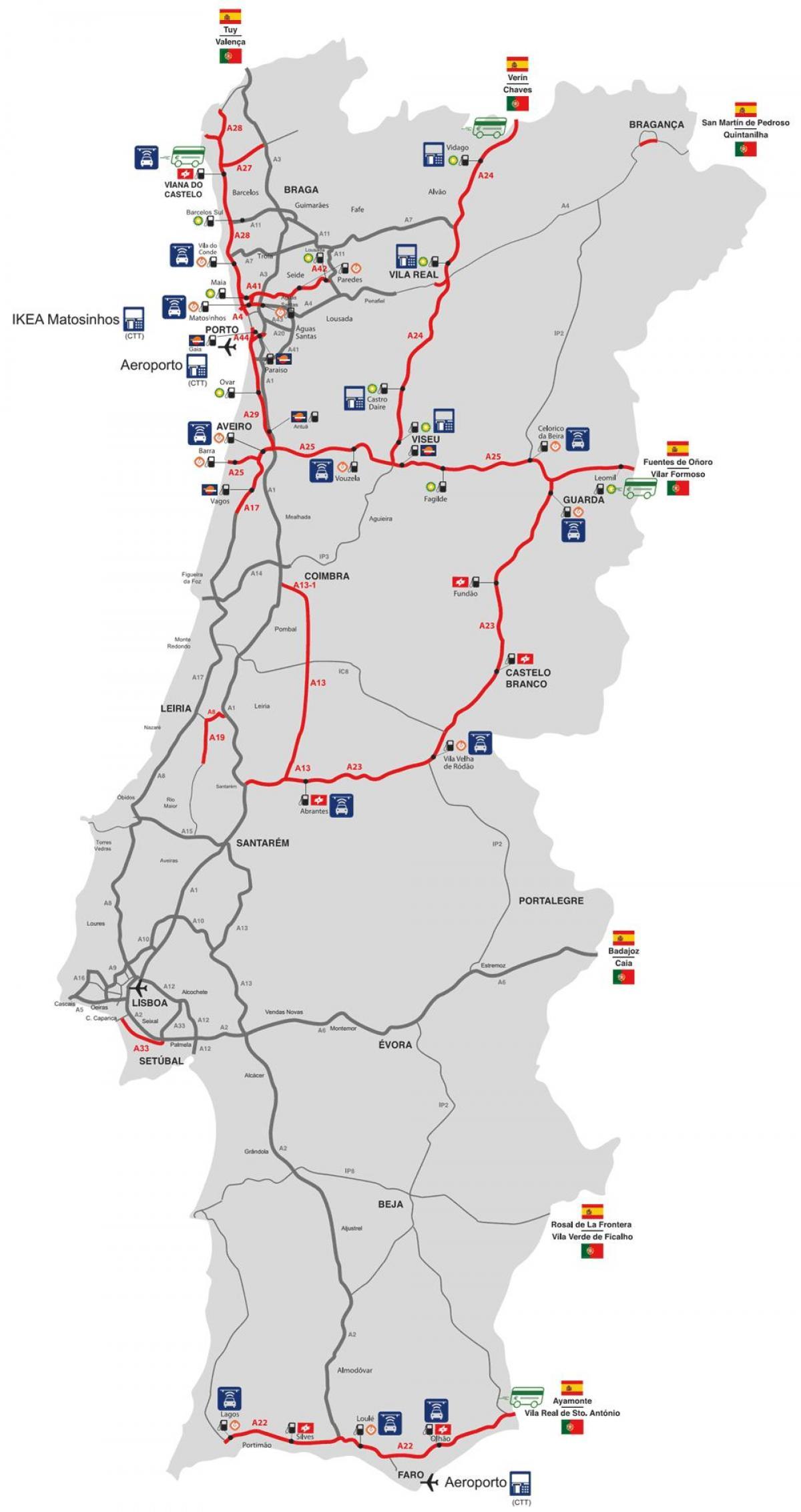 Portugal Cesta S Naplatom Cestarine Karta Cesta S Naplatom