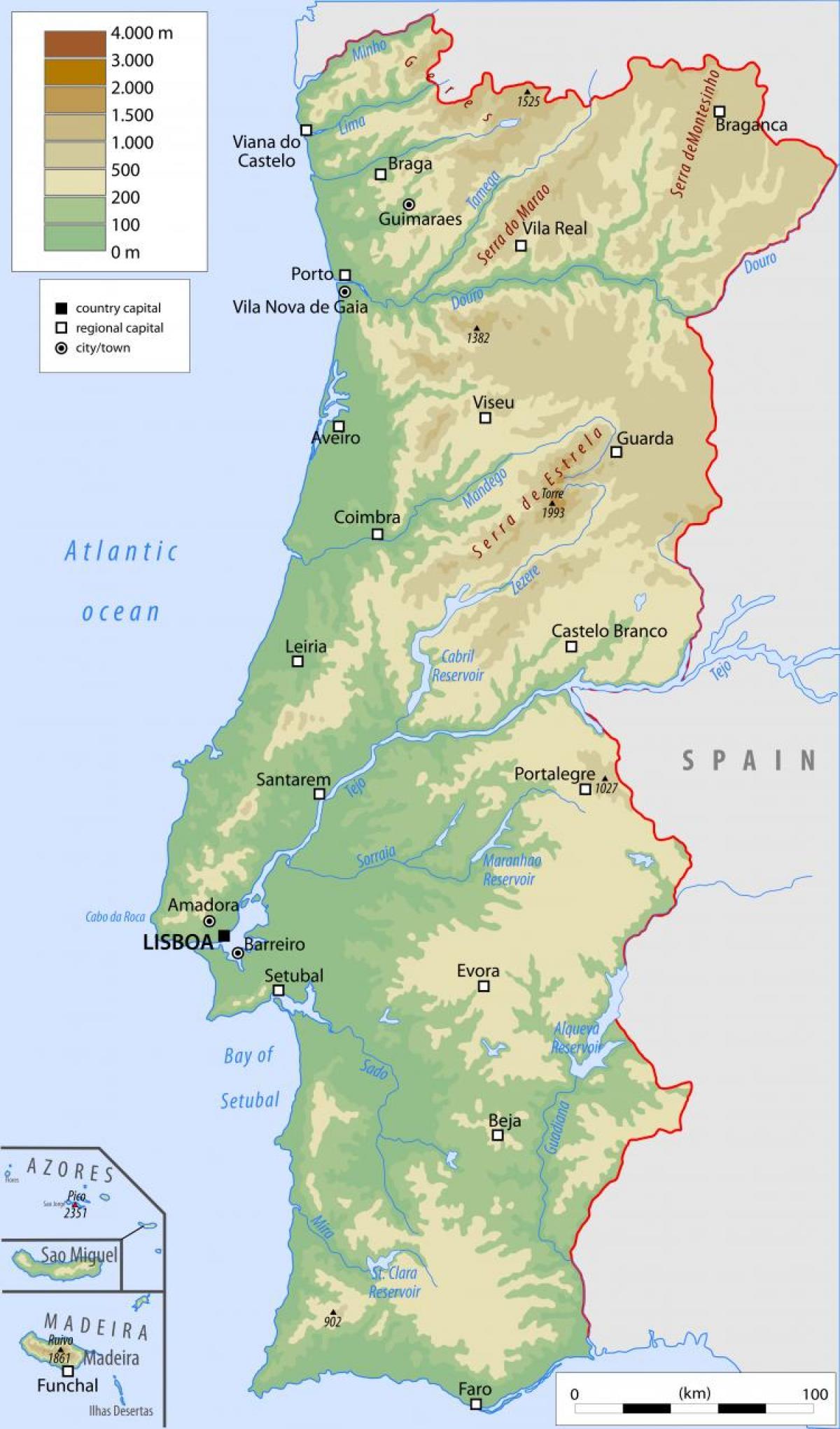 Karta Europa Portugal.Portugal Fizicke Kartice Fizicka Karta Portugala Juzna Europa